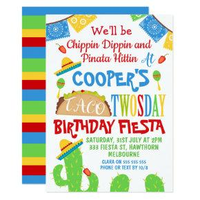 Boys Taco Twosday 2nd Birthday invitation