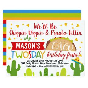 Boys Taco Twosday 2nd Birthday Party Invitation