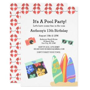 Boys Teen Pool Party Birthday Invitation