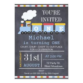 Boys Train Chalkboard Birthday Party Invitations