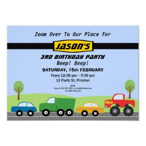 Boys Transport Birthday Party Invitations