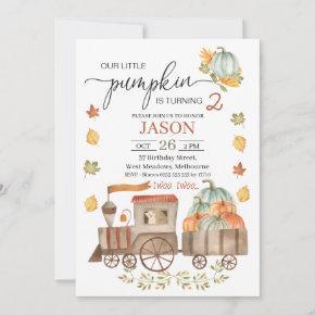 Boys Two Two Little Pumpkin Train 2nd Birthday Inv Invitation