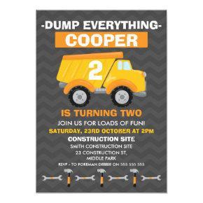 Boys Under Construction Birthday Invitations