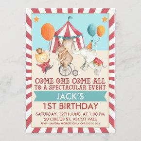 Boys Vintage Circus Birthday Party Invitation