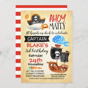 Boys Watercolor Ahoy Pirate Birthday Invitation