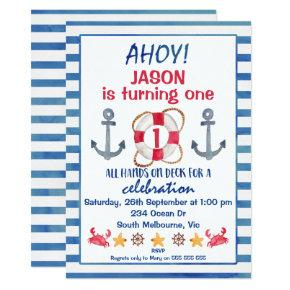 Boys Watercolor Nautical Birthday Invitation