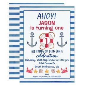 Boys Watercolor Nautical Birthday Invitation
