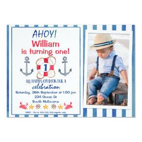 Boys Watercolor Nautical Birthday Party Invitation