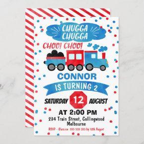 Boys Watercolor Train Birthday Invitation