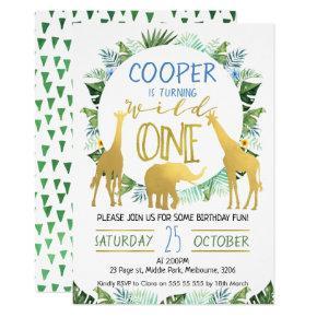 Boys Wild One Gold Animals Birthday Invitation