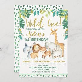 Boys Wild One Safari First Birthday Invitation
