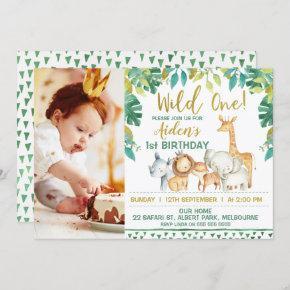 Boys Wild One Safari Photo 1st Birthday Invitation