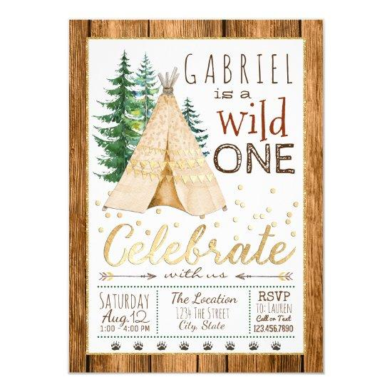 Boys Wild One Tribal TeePee First Birthday Invitations