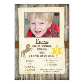 Boys Wild West Photo Birthday Invitations