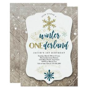 Boys Winter ONEderland Themed First Birthday Party Invitation