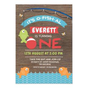 Boy's Wood It's o-fish-al 1st Birthday Invitation