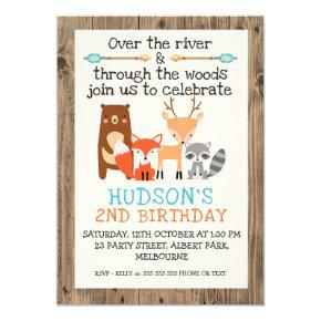 Boy's Woodland Animals Birthday Invitation