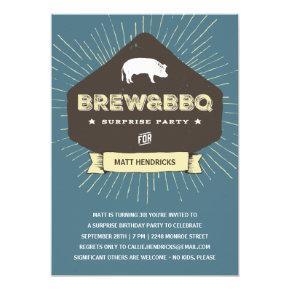 Brew & BBQ | Surprise Birthday Party Invitation