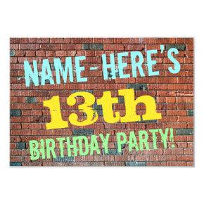 Brick Wall Graffiti Inspired 13th Birthday + Name Invitations