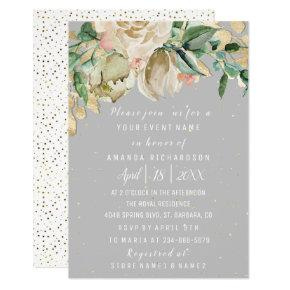 Bridal Birthday Flowers Gold Mint Gray Watercolor Invitation