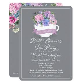 Bridal Shower Tea Party Invitation with Hydrangeas