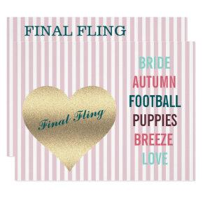 BRIDE CO Pink Final Fling Shower Tailgate Party Invitation