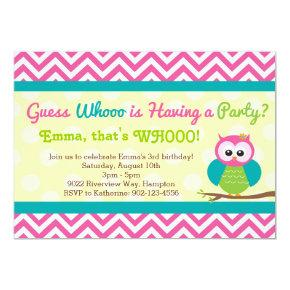 Bright Chevron Owl Birthday Party Invitations