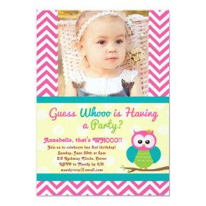Bright Chevron Owl (Photo) Birthday Invitations