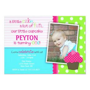 Bright Cupcake 1st Birthday Party Invitations