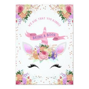Bright Floral Unicorn Bring A Book Invitation