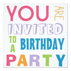 Bright Girly Colors Teen Tween Birthday Party Invitation