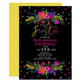 Bright Modern Floral & Black Fiesta Birthday Party Invitation