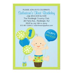 Bright Smash Cake Boy's First Birthday Invitation