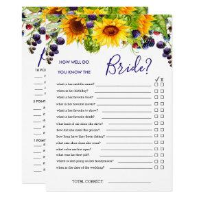 Bright Sunflower Double-Sided Bridal Shower Game Invitation