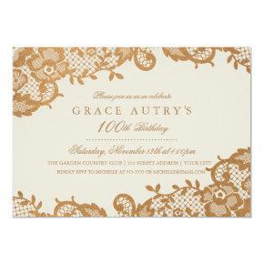 Bronze Lace 100th Birthday Invitations