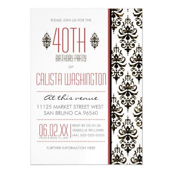bronze vintage damask 40th birthday party magnetic invitations