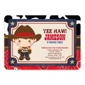 Brown Cowboy Western Old West Birthday Invitation