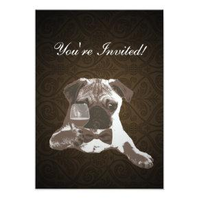 Brown Damask Pug & Fine WIne Birthday Invitation