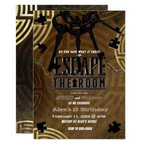 Brown Escape the Room Murder Mystery Dinner Party Invitation