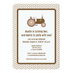 Brown Tractor Invitation