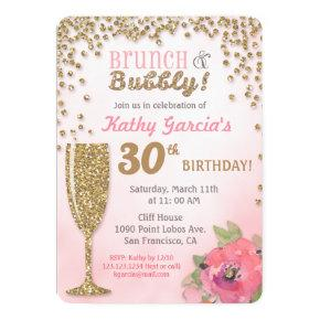Brunch and Bubbly Birthday Glitter Invitation