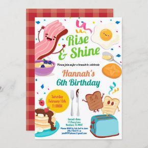 Brunch breakfast invitation. Kid children birthday Invitation
