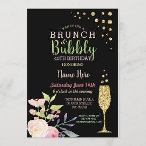 Brunch & Bubbly Birthday Gold Floral Invite