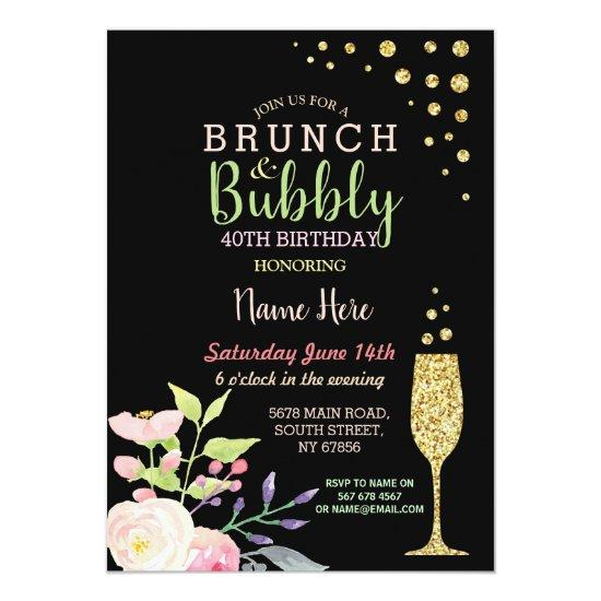 brunch bubbly birthday gold floral invite candied clouds