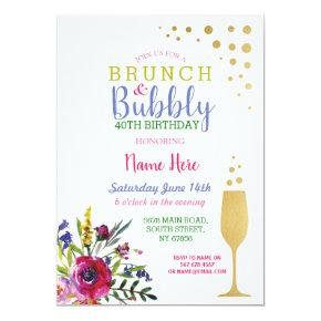 Brunch & Bubbly Gold Birthday Floral Invite
