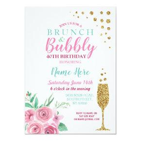Brunch & Bubbly Pink Birthday Floral Invite