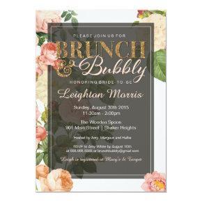 Brunch & Bubbly Vintage Floral Bridal Shower Card