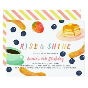 Brunch Pancake PJ Watercolor Kids Birthday Invitation