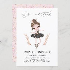 Brunette Ballerina in Black Dress Glitter Birthday Invitation
