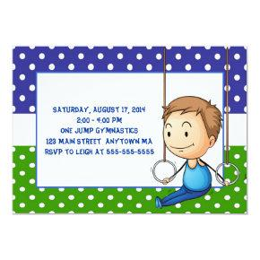 Brunette Boy Gymnastics Birthday Invitations